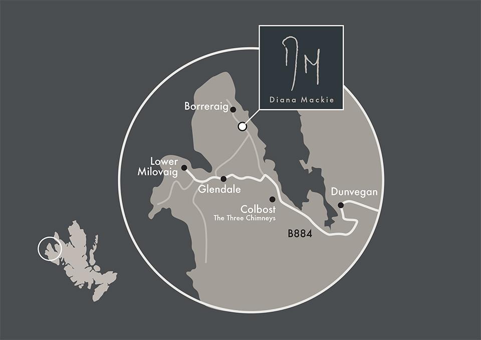 Diana Mackie, Skye directions map